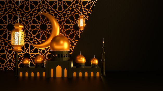 Mosque and candle lanterns with moon are hanging on dark background with islamic ornament