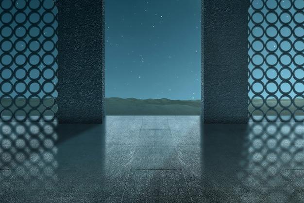 夜のシーンの背景を持つモスクのドア