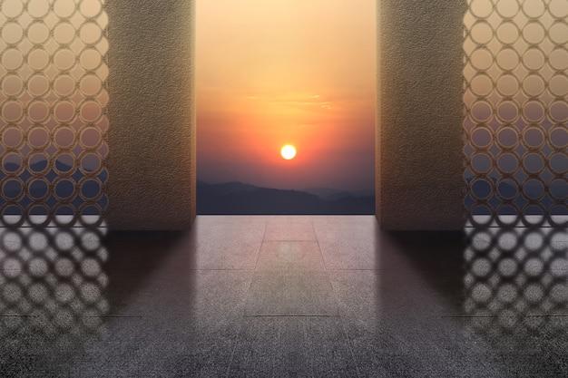 日の出の空を背景にモスクのドア
