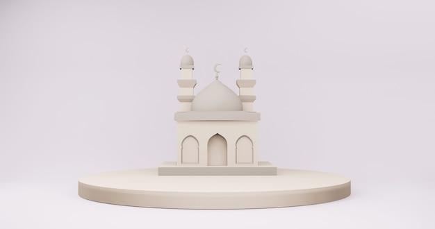 ベージュの表彰台にあるモスク