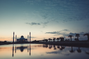 Mosque on the sunset time