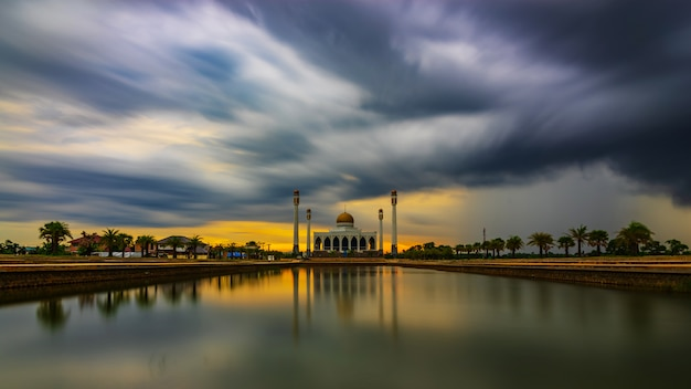 Mosque and storm cloud in rainny day, dramatic tone style