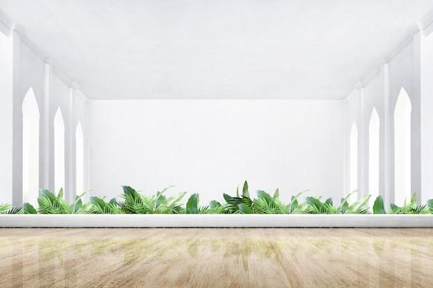 木製の床と緑の植物のモスクのテラス