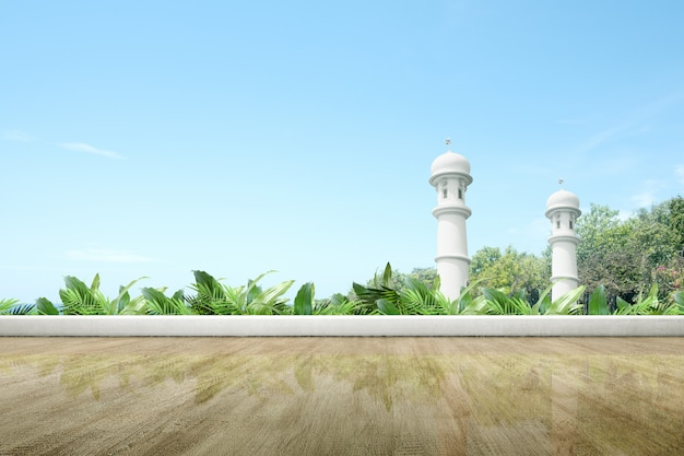 Mosque terrace with wooden floor and green plants