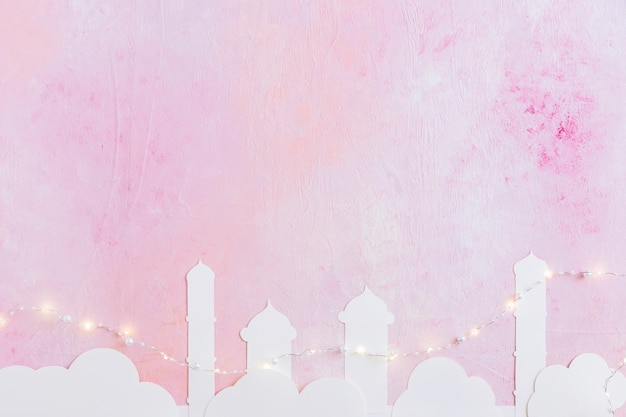 Mosque towers and garland