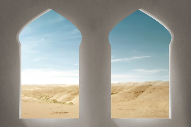 Mosque window with a desert view