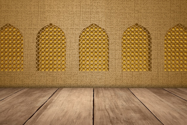 Mosque window with wooden floor and textured background