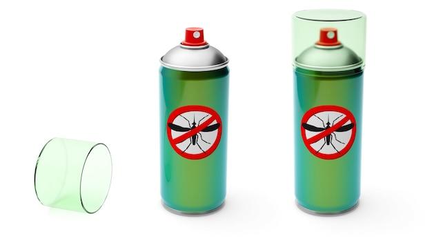 모기 스프레이. 곤충 보호. 녹색의 에어로졸 금속 캔. 흰색 배경에 고립. 3d 렌더링.