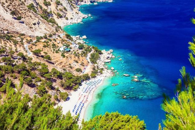 그리스의 가장 아름다운 해변-karpathos 섬의 apella, dodecanese