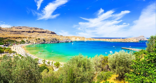 그리스의 가장 아름다운 해변-로도스 섬의 lindos