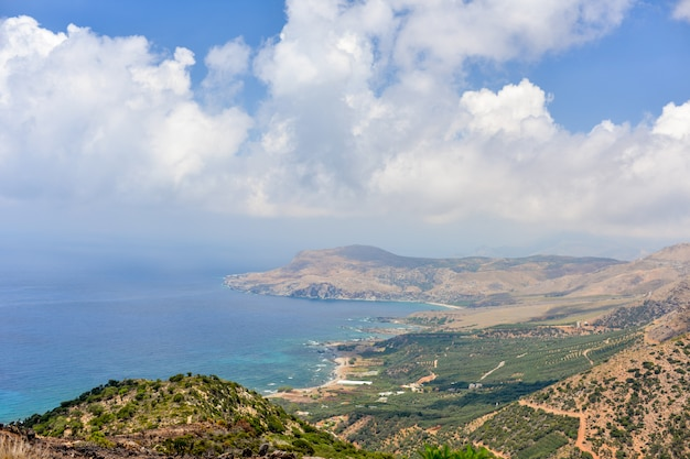 Most beautiful view of the middle sea from the highest mountain, crete, greece