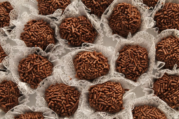 The most famous brazilian fudge ball, brigadeiro is always served at birthday parties