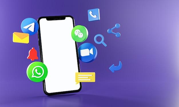 最も人気のあるメッセージング通信アプリズームテレグラムwhatsappwechatアイコン。