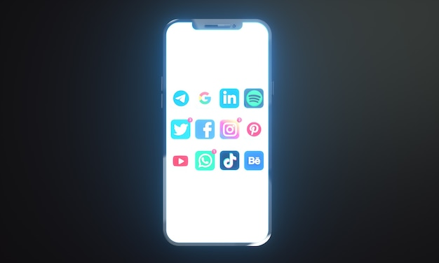 テキスト用のコピースペースを備えた携帯電話画面で最も人気のあるソーシャルメディアのアイコンとロゴ