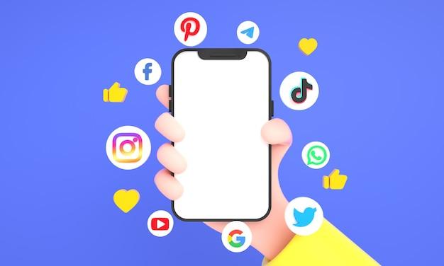 가장 인기 있는 소셜 미디어 아이콘과 소셜 네트워킹 손은 파란색 배경에 전화 모형을 들고 있습니다.