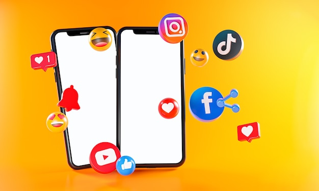 Most popular social media instagram facebook tiktok youtube icons. two phones