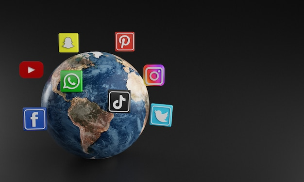 Most popular social media logo icon around earth