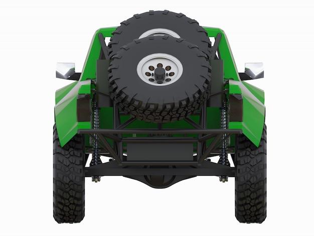 Most prepared green sports race truck for the desert terrain