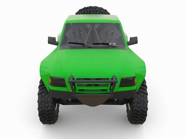 사막 지형을 위해 가장 많이 준비된 그린 스포츠 경주 트럭. 3d 그림.