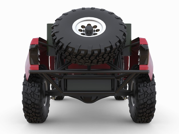 Most prepared red sports race truck for the desert terrain.