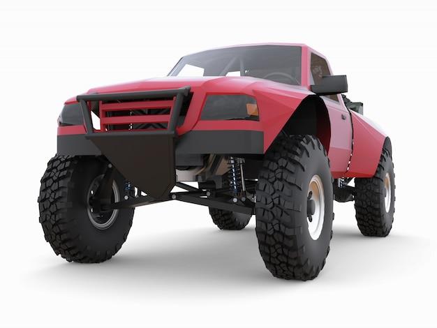 Most prepared red sports race truck for the desert terrain