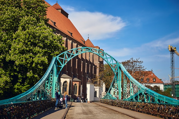 Most tumski is also called lovers, cathedral or green bridge, adorned with many love locks and hearts, wroclaw, the poland.