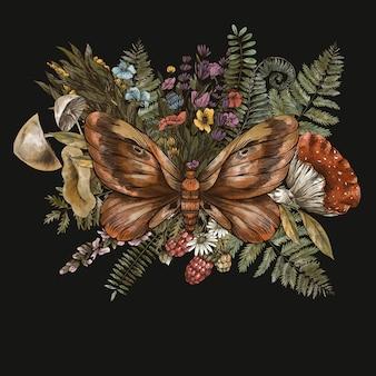 Moth with fern, mushrooms, amanita botanical card. woodland treasures, witchcraft illustrations