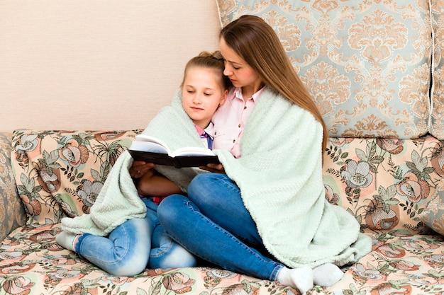 Мать и дочь читают книгу на диване у себя дома. женщина и ребенок сидят на диване, закутавшись в мягкое одеяло, и читают книгу.