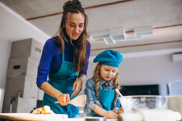 Мать и дочь выпечки дома