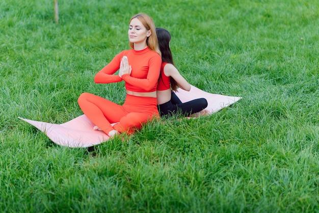 낮 시간에 공원에서 잔디에 요가 운동을하는 엄마와 딸