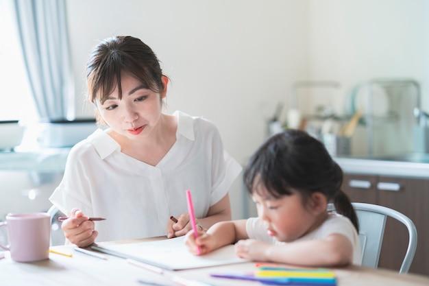 母と娘の家での描画