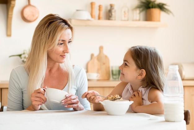 一緒に朝食を食べる母と娘