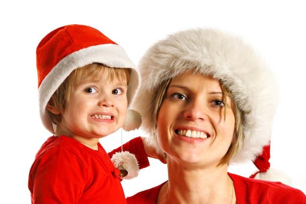 クリスマス小屋の母と娘