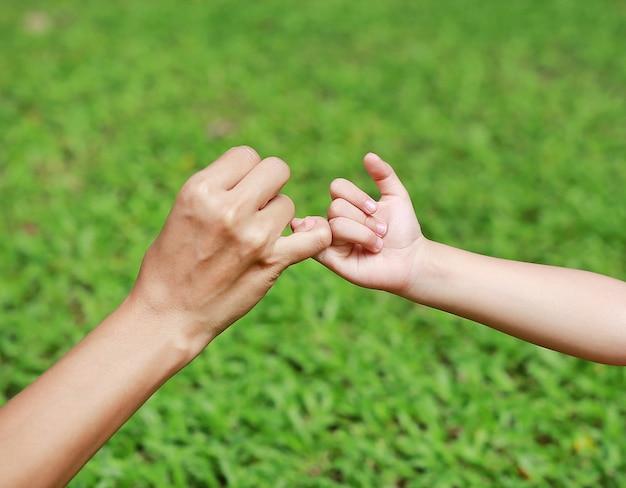 Мать и дочь делают обещание мизинца