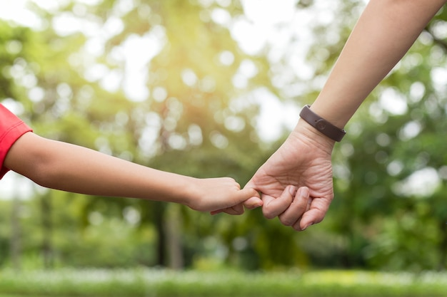Мать и сын, зацепляющие палец, выполняют свои обещания во время прогулки по парку