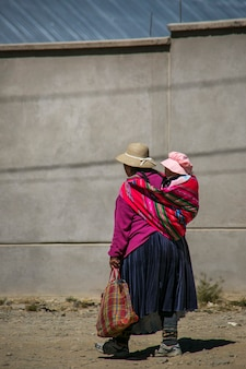 Mother and baby girl in la paz, bolivia