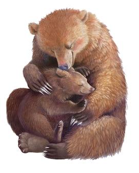Медведь-мама обнимает медвежонка. реалистичный цветной рисунок руки. иллюстрация, материнство. день матери.