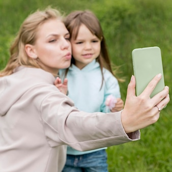 Mother and child taking a selfie
