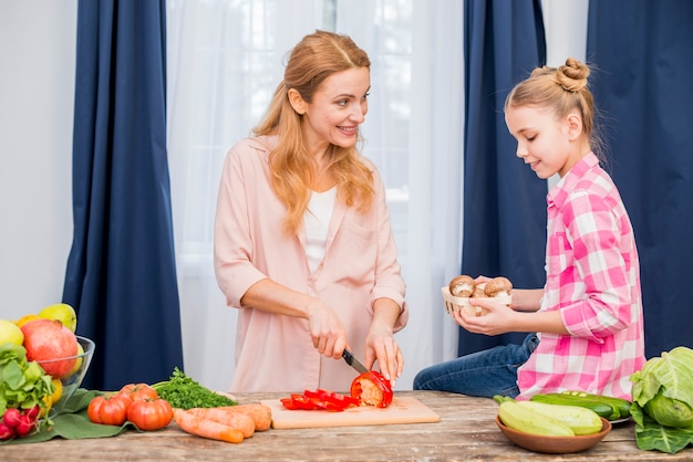 Mother cutting bell pepper with knife looking at her daughter holding mushroom basket in hand
