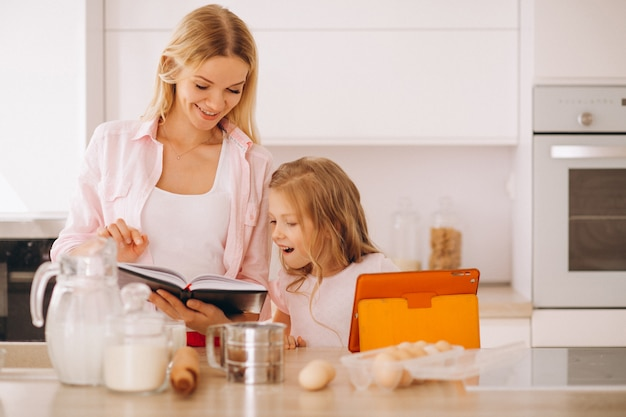 Mother and daughter baking at the kitchen