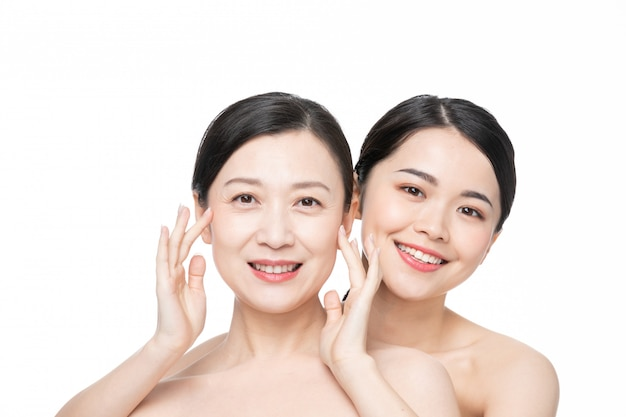 Mother and daughter beauty skin care