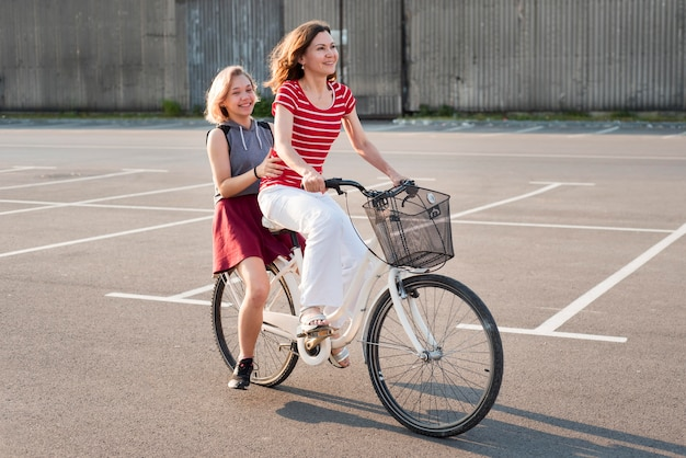 Mother and daughter on a bicycle