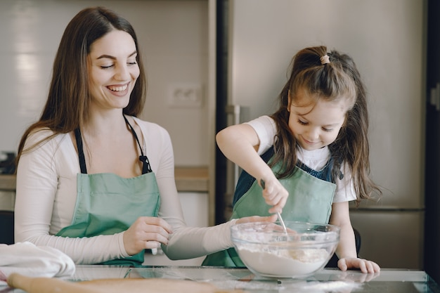 Mother and daughter cook the dough for cookies