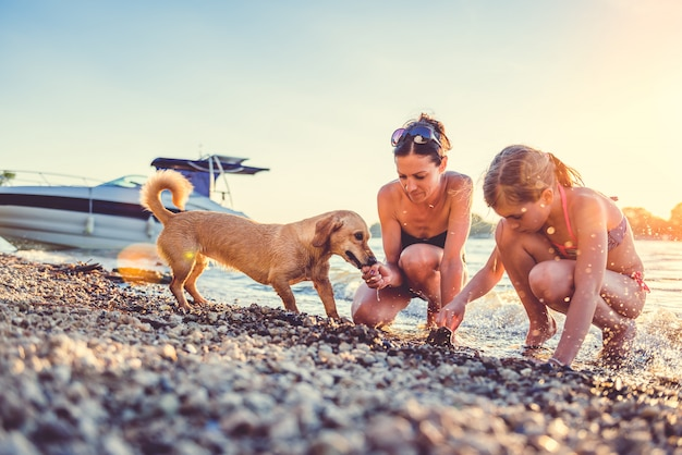 Mother, daughter and dog on the beach