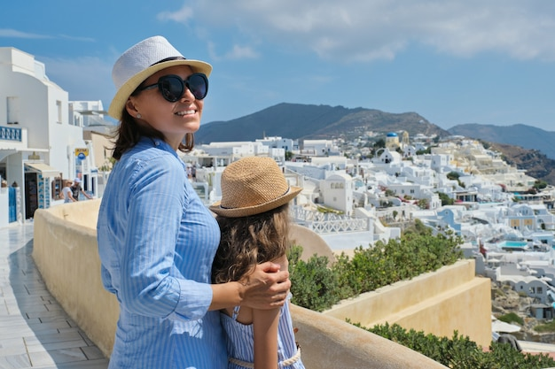 Mother and daughter on greek island