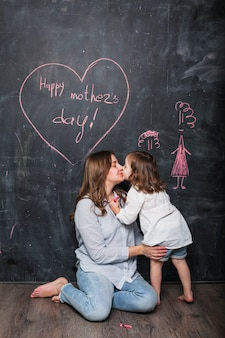 Mother and daughter kissing near happy mothers day inscription