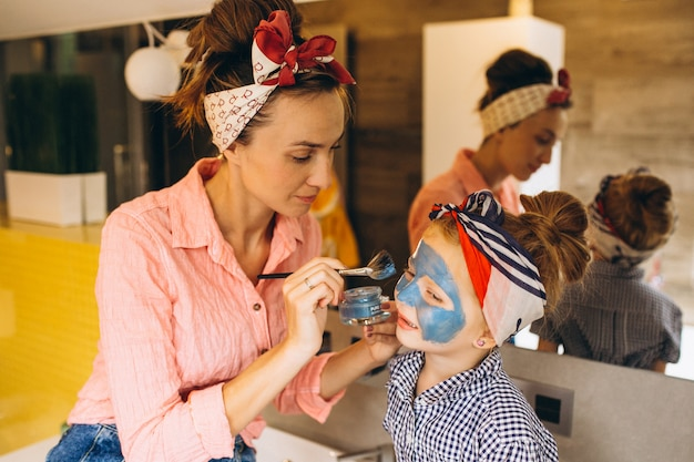 Mother and daughter making masks home