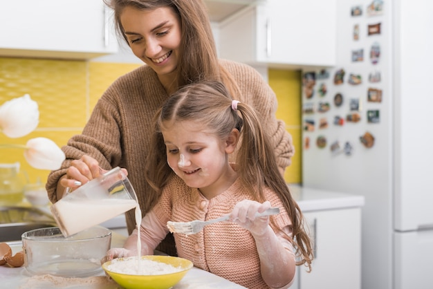 Mother and daughter pouring milk into bowl