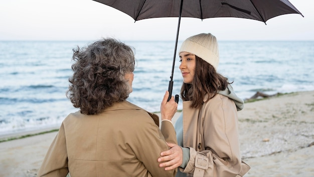 Mother and daughter sharing a tender moment while on the beach under an umbrella