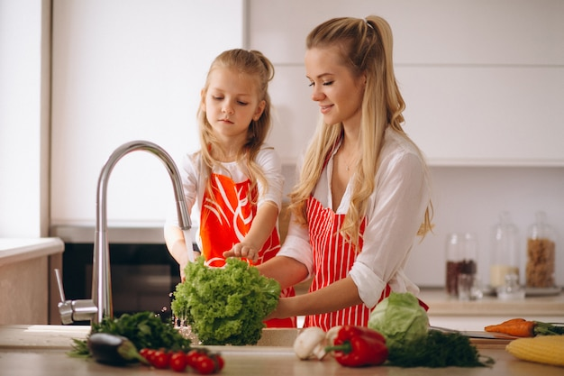 Mother and daughter washing vegetables